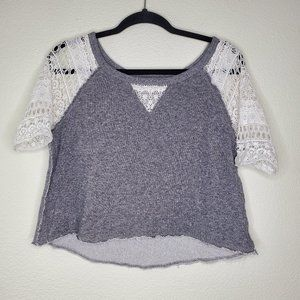 Victoria's Secret Gray Cropped Lace Sleeve Top